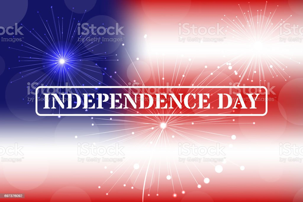 independence day stamp on blurred background fireworks vector stock rh istockphoto com Shooting Fireworks Fireworks Vector Transparent
