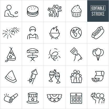 Independence Day Thin Line Icons - Editable Stroke