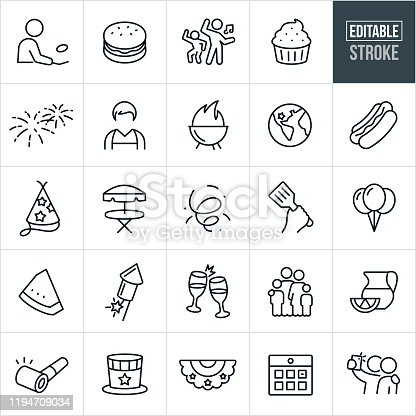 A set Independence Day icons that include editable strokes or outlines using the EPS vector file. The icons include a person grilling, a man with an apron on, hamburger, people dancing, cupcake, fireworks, grill, hotdog, food, party hat, patio table, confetti, spatula, balloons, watermelon, champagne, toast, family, partying, lemonade, party horn, bunting, calendar and two people taking a selfie to name a few.