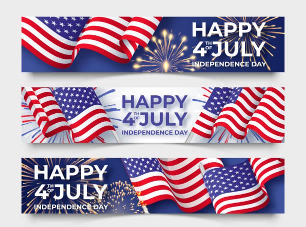 美國獨立日。三個水準橫幅與美國旗子。7月4日海報範本 - happy 4th of july 幅插畫檔、美工圖案、卡通及圖標