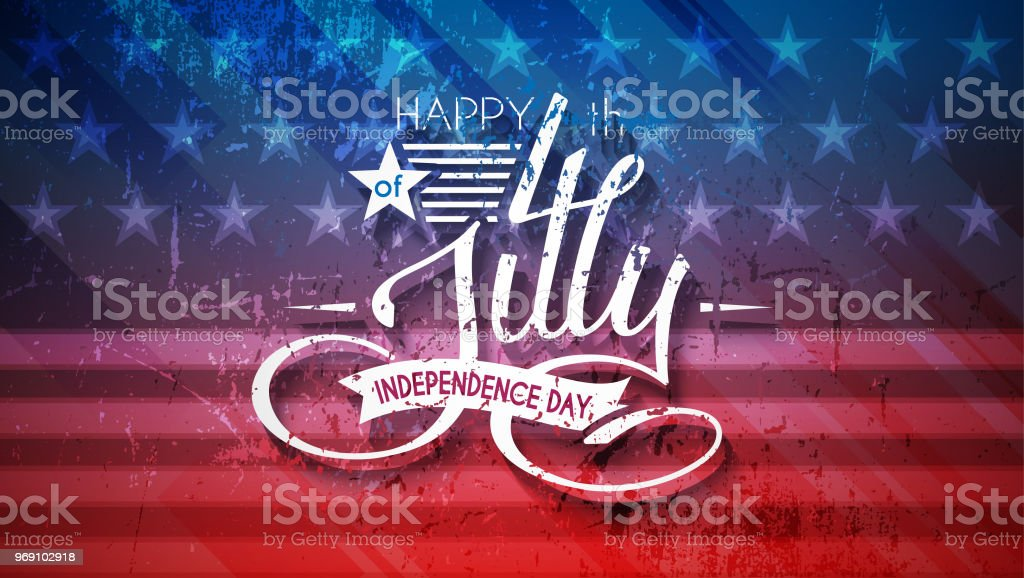Independence Day USA background with lettering 4 july for design of card, flyer, poster vector art illustration