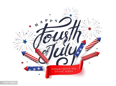 istock Independence day USA banner template rockets for fireworks background.4th of July celebration poster template.fourth of july vector illustration . 1249708920
