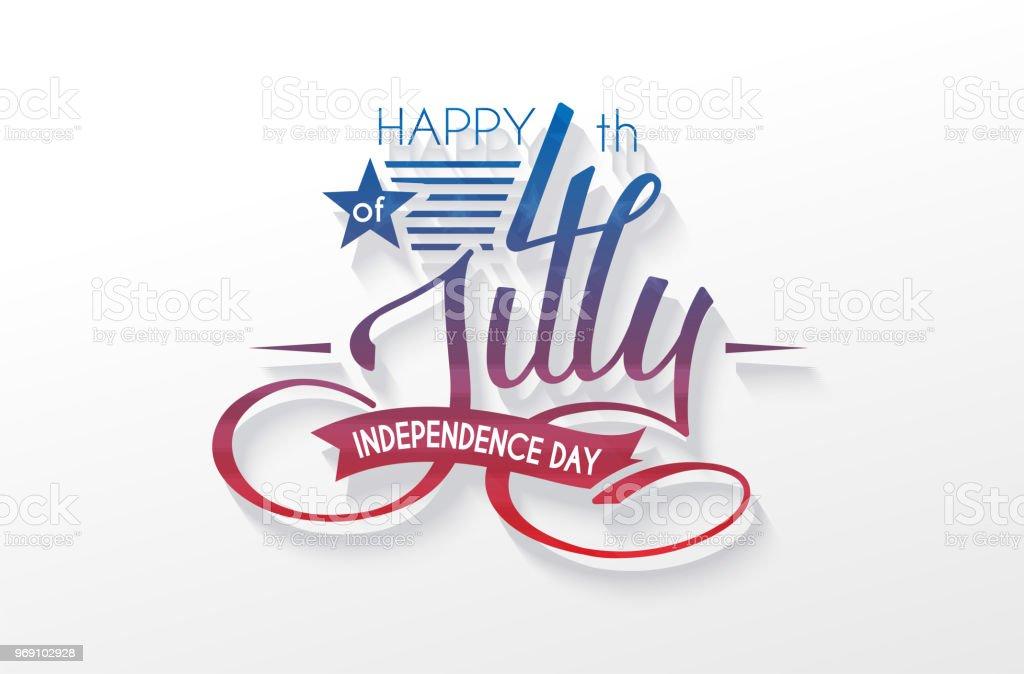 Independence Day USA lettering 4 july for design of card, flyer, poster vector art illustration