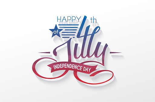Independence Day Usa Lettering 4 July For Design Of Card Flyer Poster Stock Illustration - Download Image Now