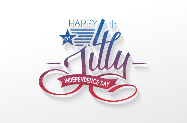 independence day usa lettering 4 july for design of card, flyer, poster - 4th of july stock illustrations, clip art, cartoons, & icons