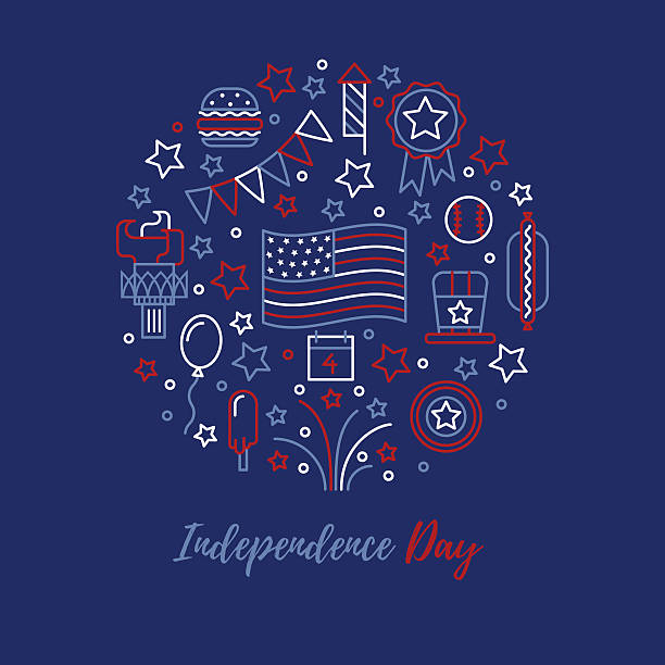 Independence Day vector concept. A set of design elements and icons for design kit in traditional American colors - red, white, blue. Happy independence day card. july 4th illustrations stock illustrations