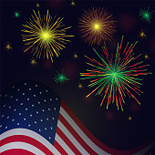 Independence Day vector golden reg green fireworks and american flag