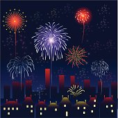 city with fireworks