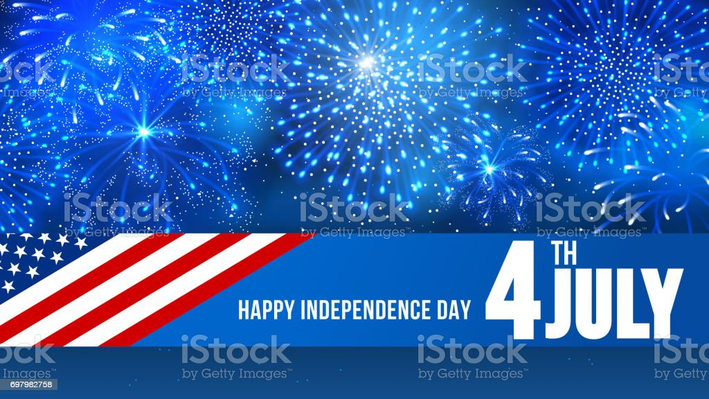 Independence day 4 July Independence day of United States of America  - festive vector cards with fireworks. American Culture stock vector
