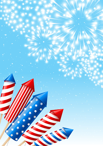 Independence day vertical banner with fireworks rockets on blue sky background