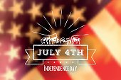 white independence day line label on blurred us flag in vintage look