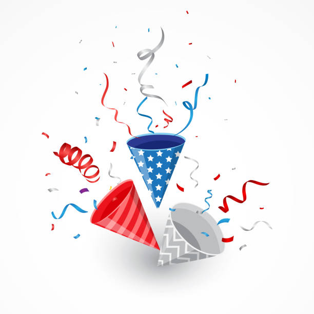 independence day with american confetti and ribbon - fourth of july stock illustrations