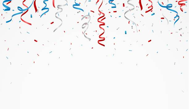independence day with american confetti and ribbon - happy 4th of july stock illustrations