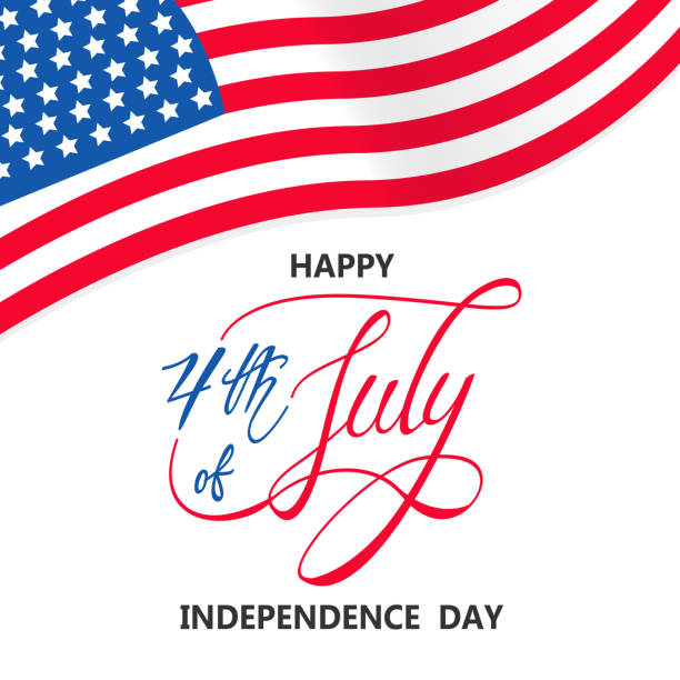 independence day with usa flag vector on white background or banner graphic - happy 4th of july stock illustrations
