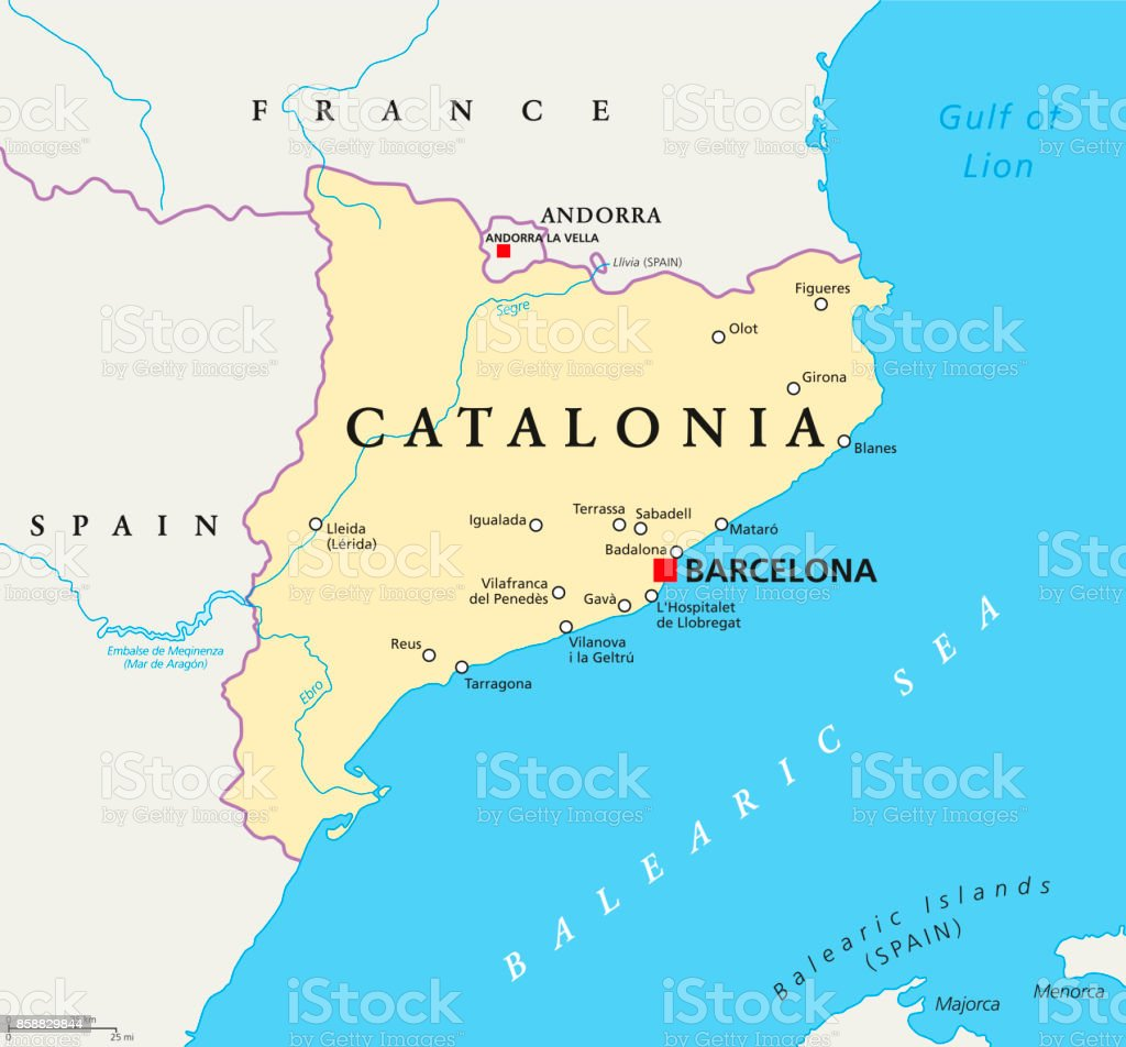 Independent Catalonia political map - Векторная графика Catalan Independence Movement роялти-фри