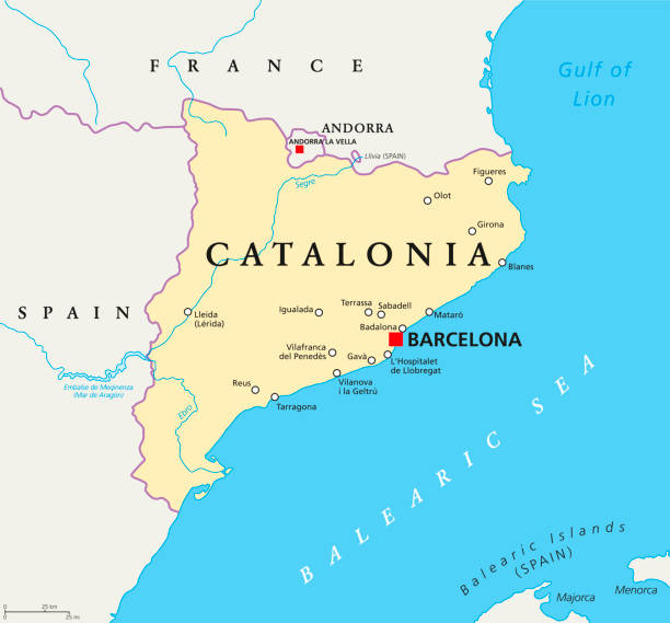 independent catalonia political map - lleida stock illustrations