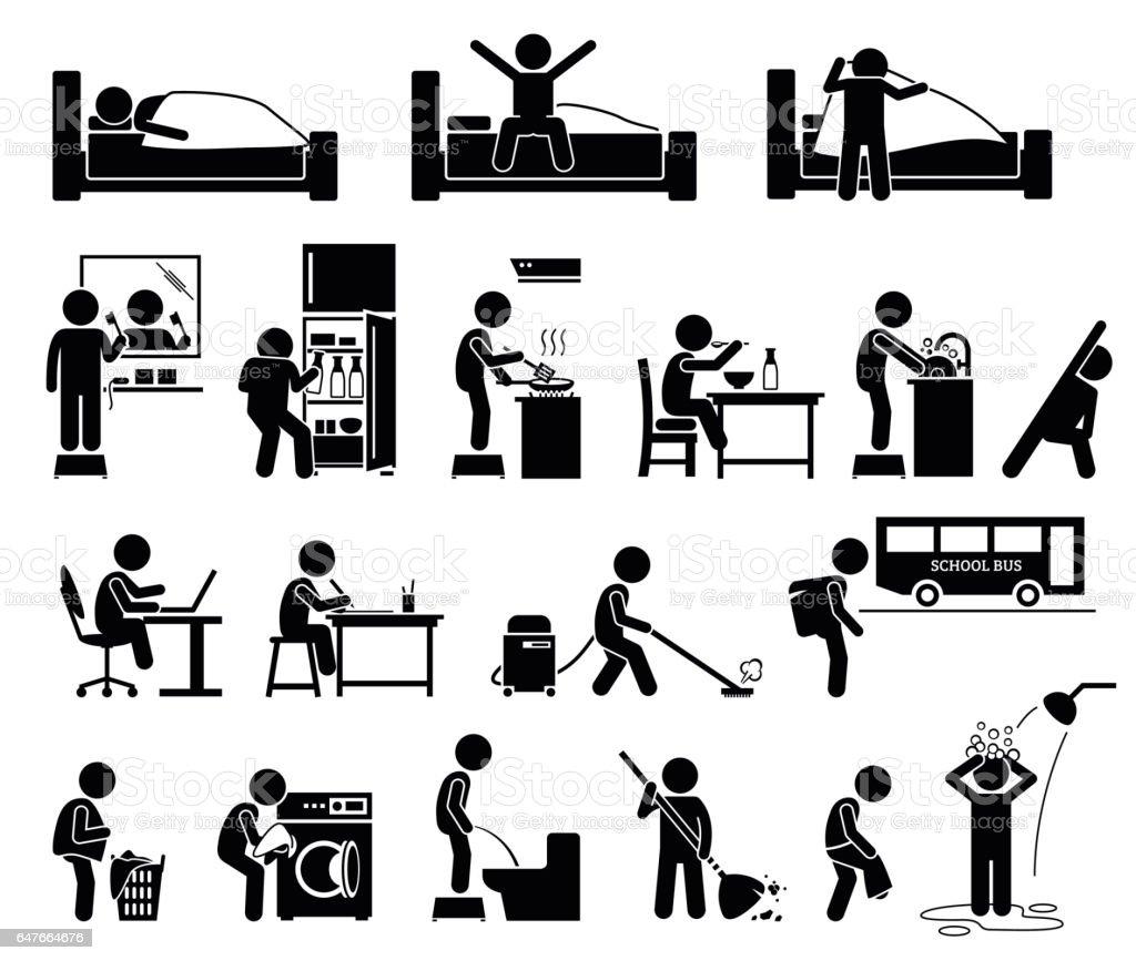 Independiente a los niños cuidar de sí mismos. - ilustración de arte vectorial