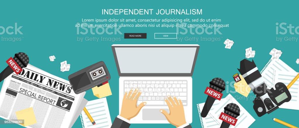 Bandera plana de periodismo independiente. Equipo para periodista de escritorio. Ilustración de vector plano - ilustración de arte vectorial