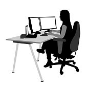 Woman working at the office with a double computer monitor setting