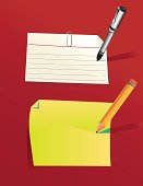 A bunch of design elements for paper and post it notes and pens.