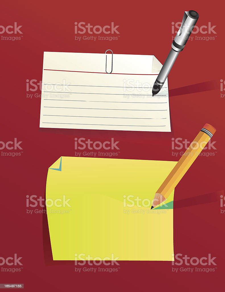 Index Card and Stationary vector art illustration