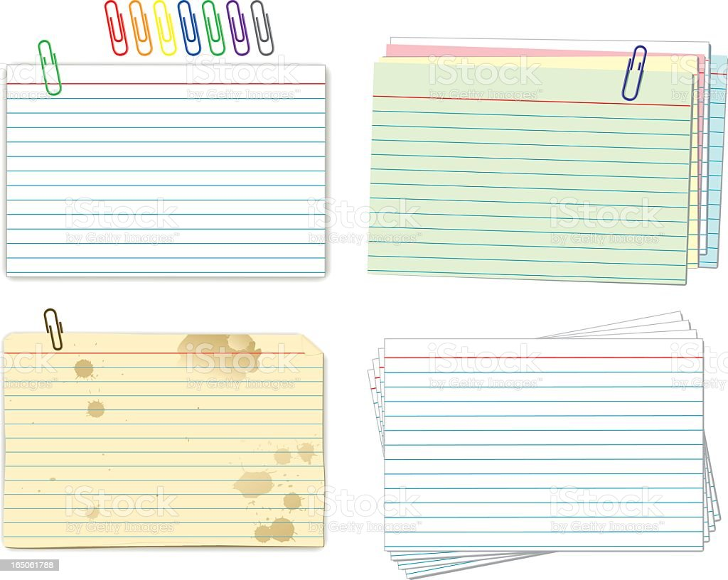 Index cards and paper clips samples vector art illustration