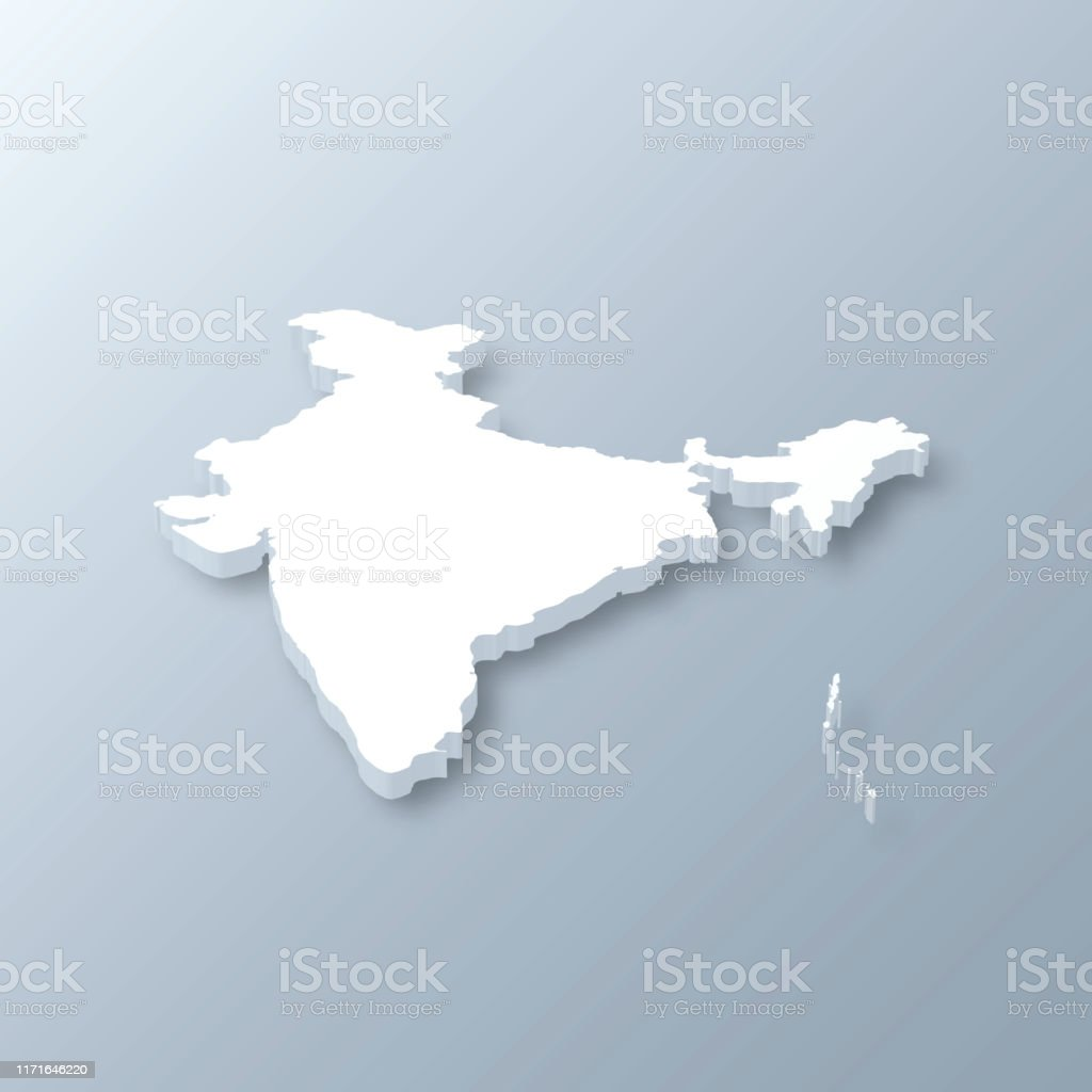 India 3D Map on gray background - Royalty-free Abstract stock vector