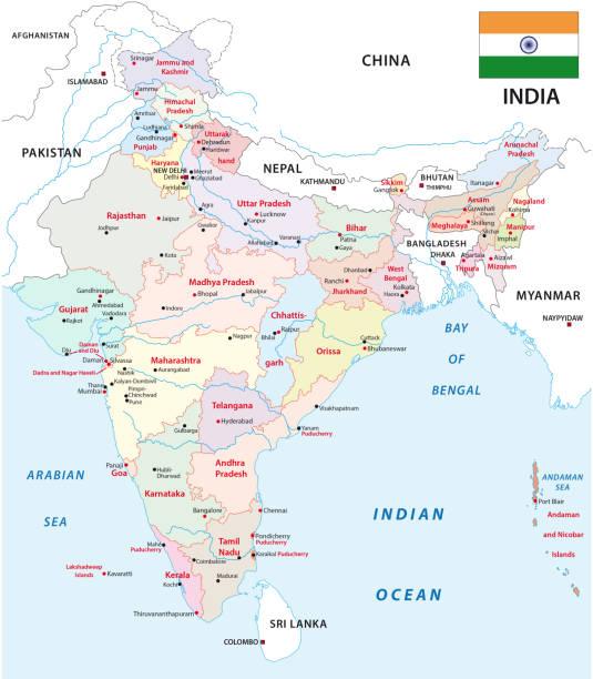 stockillustraties, clipart, cartoons en iconen met india administratieve en politieke zones kaart - myanmar
