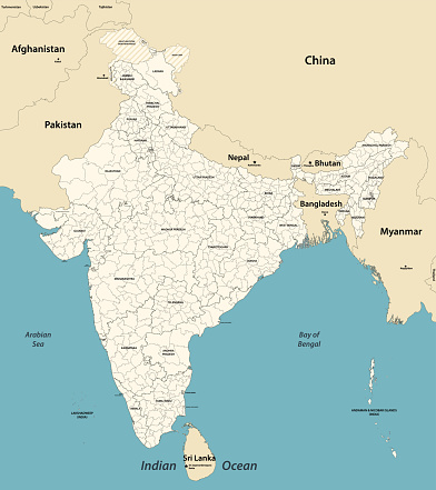 India administrative divisions vector map with neighbouring coutries