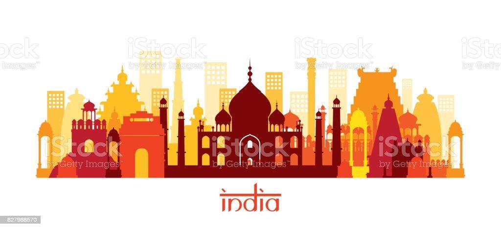 India Architecture Landmarks Skyline, Shape vector art illustration