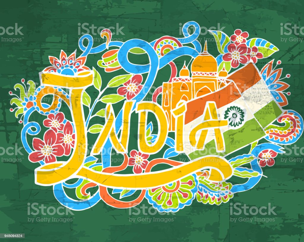 India art abstract hand lettering and doodles elements background. Vector illustration for colorful template for you design, web and mobile applications. vector art illustration