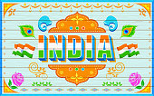 illustration of India background in truck paint style