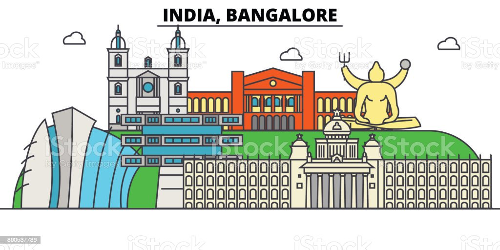 India, Bangalore, Hinduism. City skyline, architecture, buildings, streets, silhouette, landscape, panorama, landmarks. Editable strokes. Flat design line vector illustration concept. vector art illustration