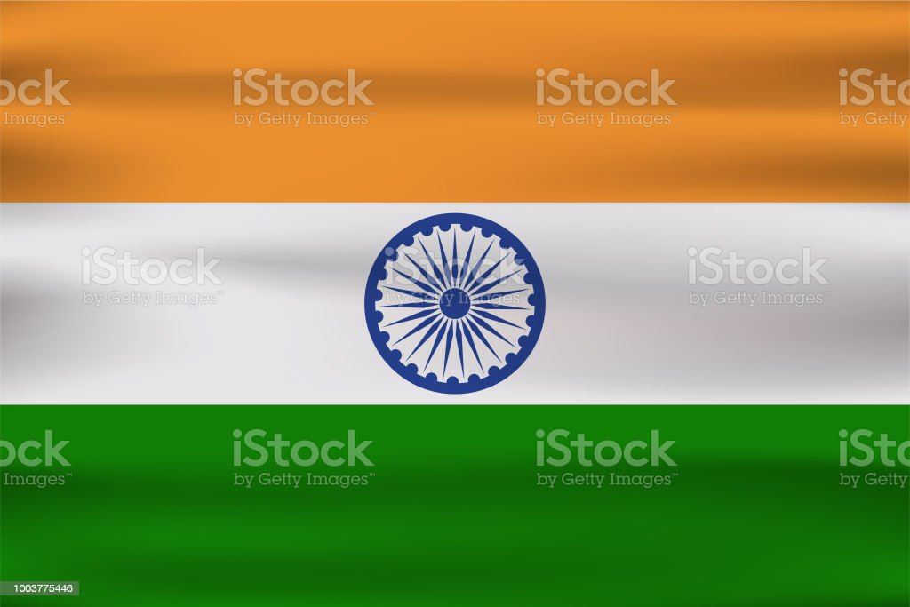 India Beautiful Wavy Flag Celebrate Happy Independence Day Of India