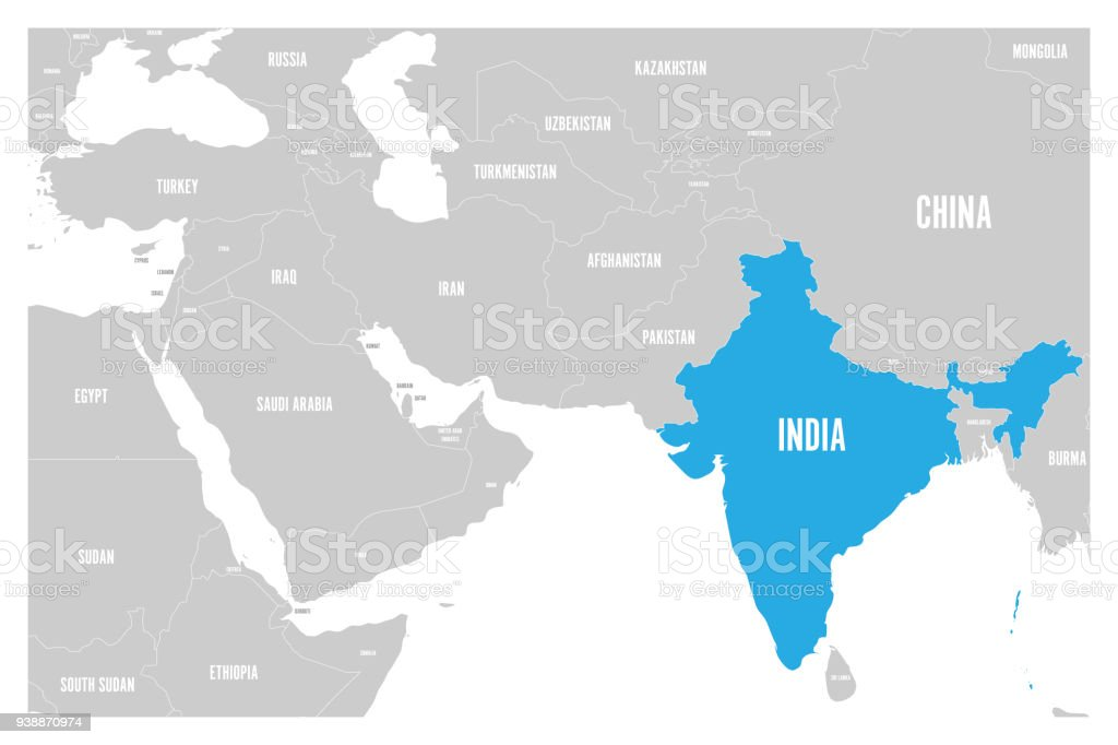 Map Of Asia India.India Blue Marked In Political Map Of South Asia And Middle East
