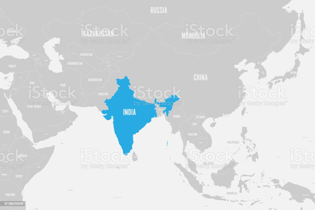 India Blue Marked In Political Map Of Southern Asia Vector