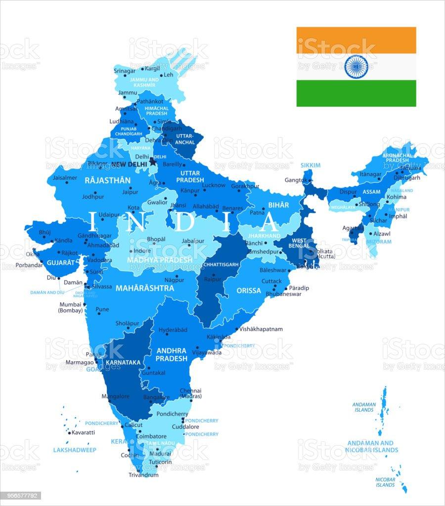 04 - India - Blue Spot Isolated 10 vector art illustration