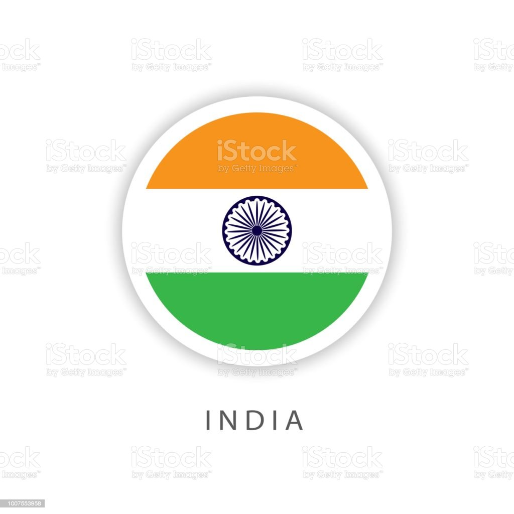 India Button Flag Vector Template Design Illustrator Stock