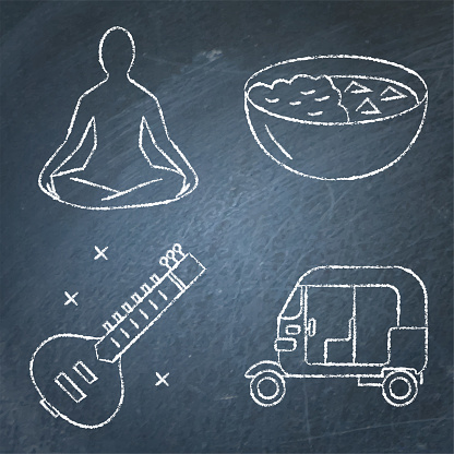 India chalkboard icons set in line style