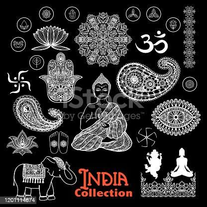 India design elements chalkboard  set  with woman in lotus position elephant  paisley and ornament  vector illustration
