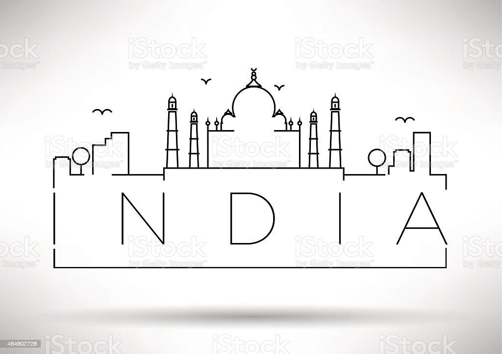India City Line Silhouette Typographic Design vector art illustration