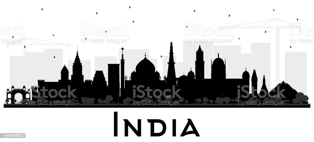 India City Skyline Silhouette with Black Buildings Isolated on White. vector art illustration
