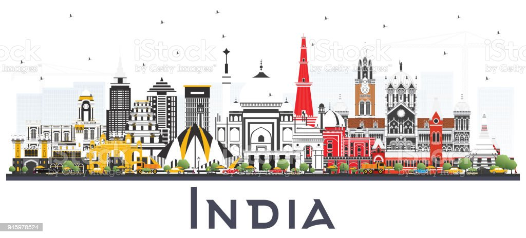 India City Skyline with Color Buildings Isolated on White. vector art illustration