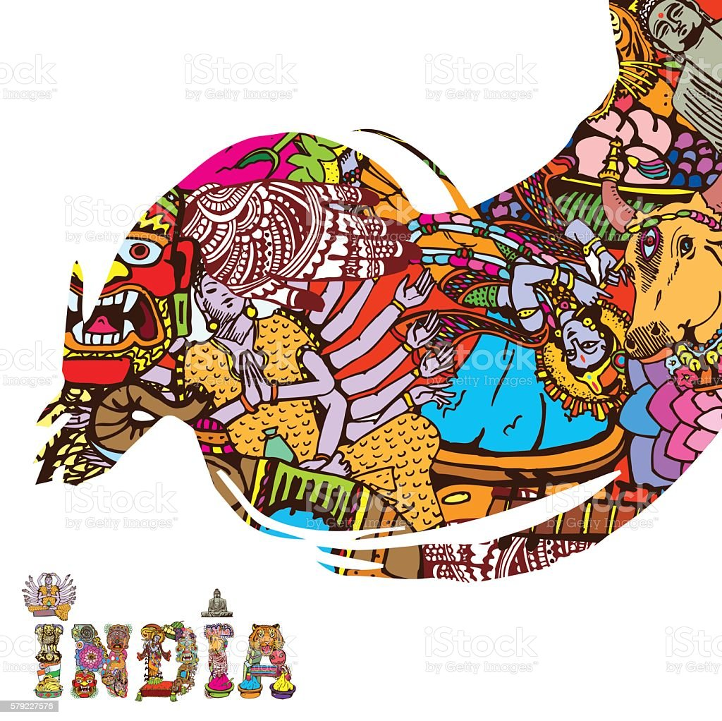 India Collage art card with text vector art illustration