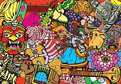 India Collage Pattern. Traditional Indian theme. Texture background illustration.