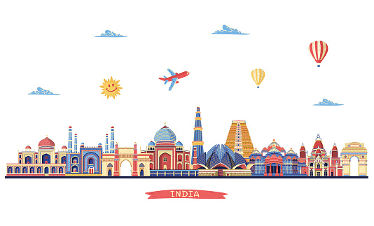 India colored skyline. Travel and tourism background. Vector illustration