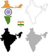India country black silhouette and with flag on background