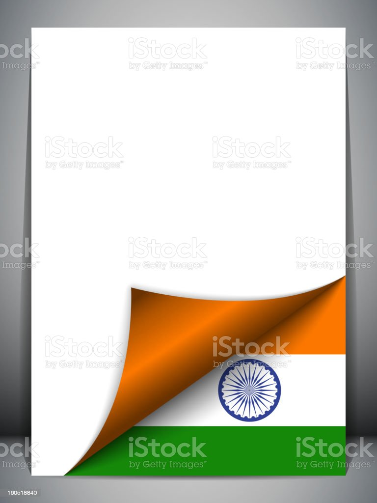 India Country Flag Turning Page royalty-free stock vector art