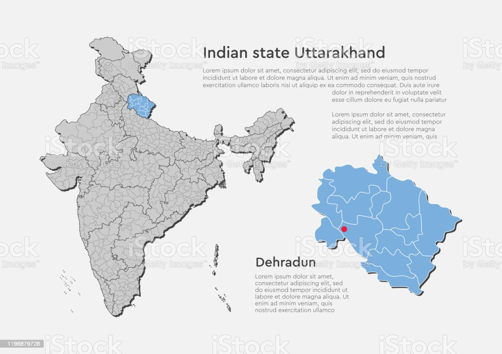 India Country Map And State Uttarakhand Template Stock ...