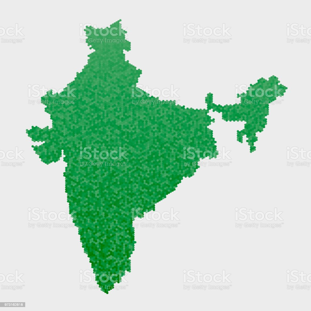 India Country Map Green Hexagon Pattern Stock Vector Art & More ...